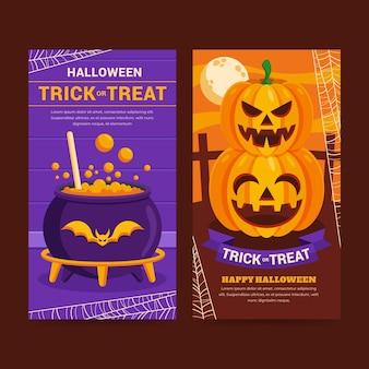 Flat halloween vertical banners set