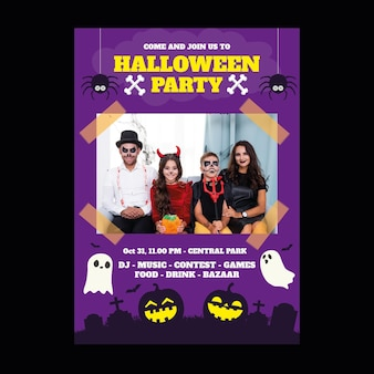Flat halloween vertical party flyer template with photo