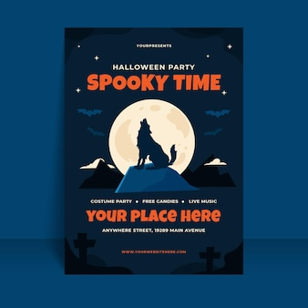 Flat halloween vertical party flyer template