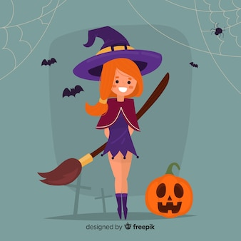 Flat halloween witch background