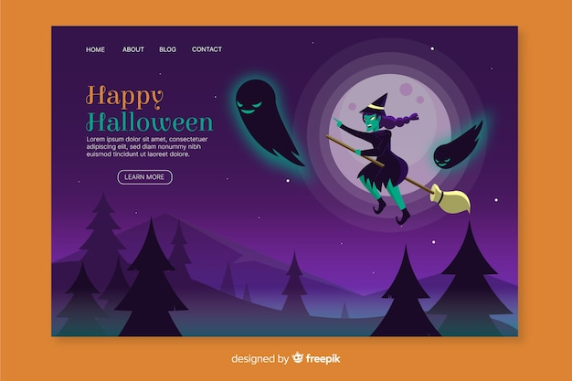 Flat halloween witch landing page