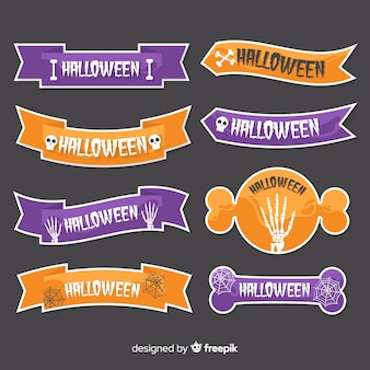 Flat halloween with ribbons collection