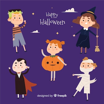 Flat halloween young adult character collection