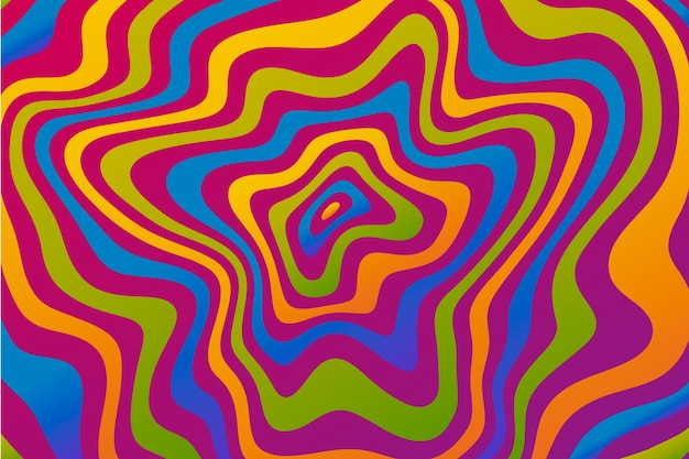 Flat-hand drawn acid colored groovy background
