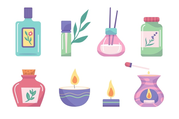 Flat-hand drawn aromatherapy element set