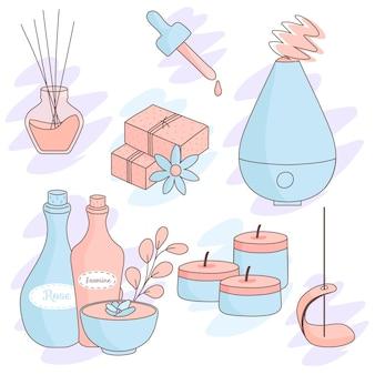 Flat-hand drawn aromatherapy element set