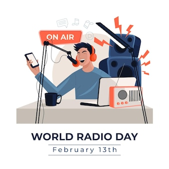 Flat hand drawn background world radio day with man
