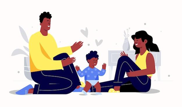 Плоская рисованная черная семья с детской иллюстрацией