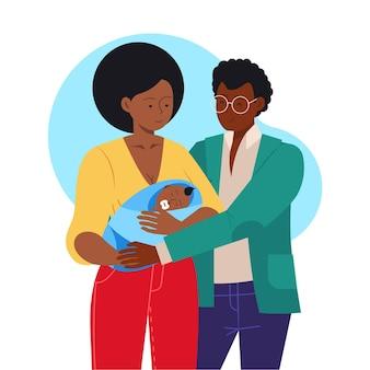 赤ちゃんのイラストとフラット手描き黒家族
