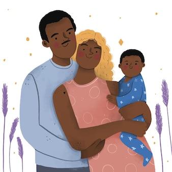 Famiglia nera disegnata a mano piatta con un bambino