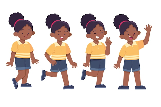 Flat-hand drawn black girl in different poses collection
