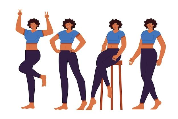 Ragazza nera disegnata a mano piatta in diverse pose