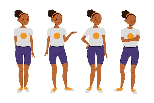 Flat-hand drawn black girl in different poses
