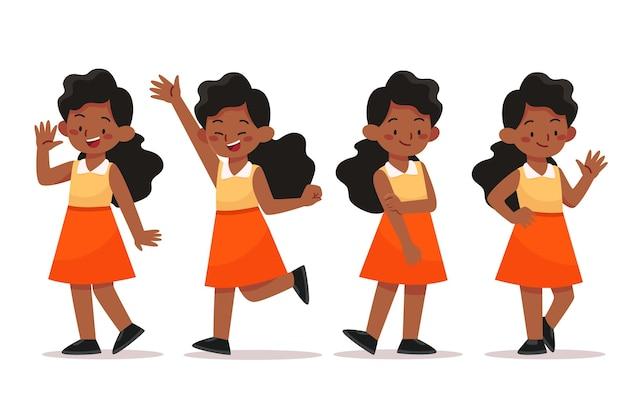 Плоская рисованная черная девушка в коллекции разных позах