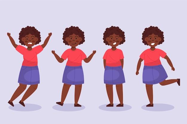 다른 포즈 컬렉션에서 플랫 손으로 그린 흑인 소녀