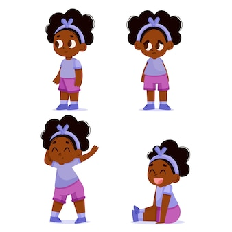 さまざまなポーズのコレクションでフラット手描きの黒人の女の子