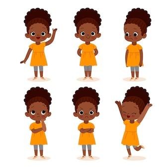 다른 포즈 그림에서 플랫 손으로 그린 흑인 소녀