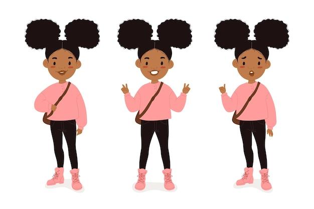 다른 포즈에서 플랫 손으로 그린 흑인 소녀