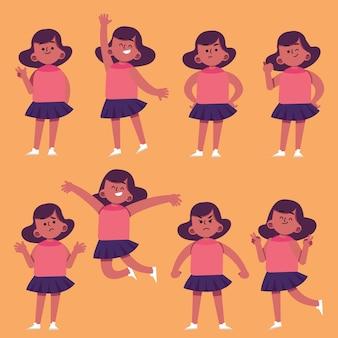 Плоская рисованная черная девушка в разных позах