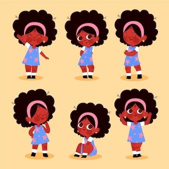さまざまなポーズでフラット手描きの黒人の女の子