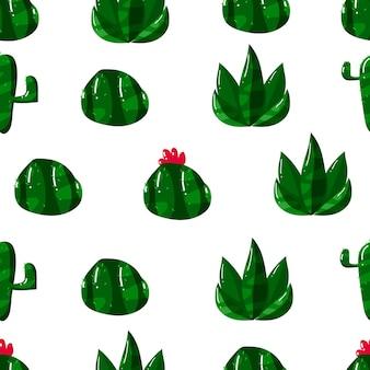 Flat hand drawn cactus seamless pattern