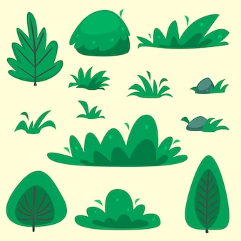 Flat hand drawn cartoon bush grass template collection set