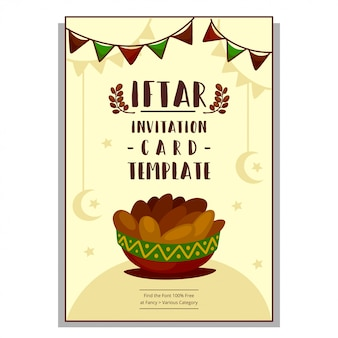 Flat hand drawn cartoon iftar invitation card template