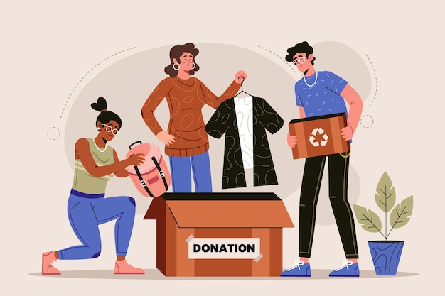 Flat-hand drawn clothing donation concept