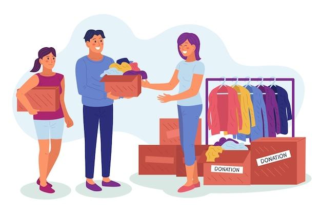 Плоская рисованная иллюстрация пожертвования одежды с людьми
