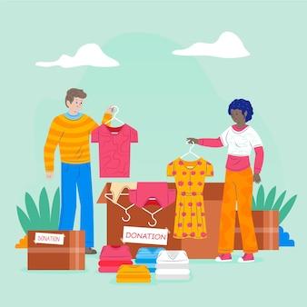 Illustrazione di donazione di abbigliamento disegnato a mano piatta con persone