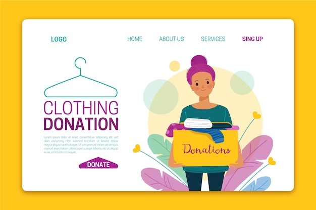 Flat-hand drawn clothing donation landing page