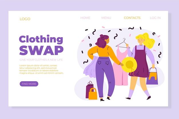 Flat-hand drawn clothing swap landing page