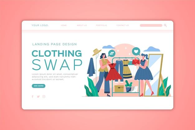 Плоский рисованный веб-шаблон обмена одеждой