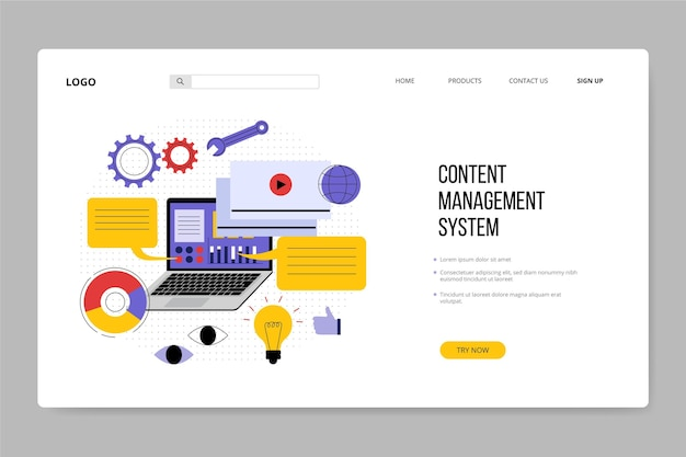 Flat hand drawn cms landing page template