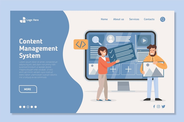 Flat-hand drawn cms landing page template