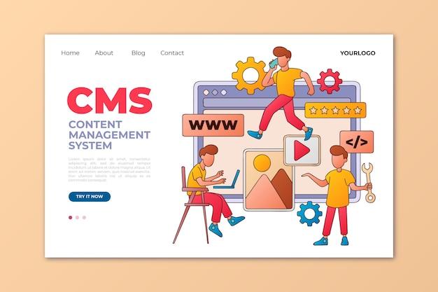 Плоская рисованная целевая страница cms