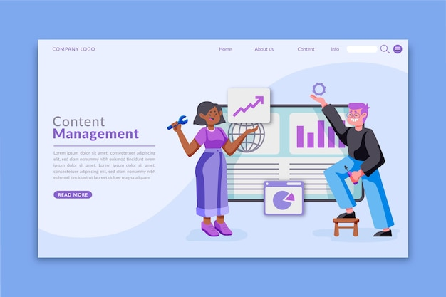 Flat-hand drawn cms web template