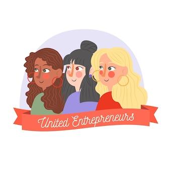 Illustrazione di imprenditori femminili fiduciosi disegnata a mano piatta