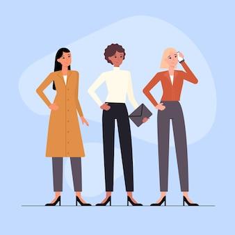 플랫 손으로 그린 자신감 여성 기업가 그림