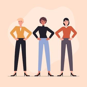Плоская рисованная иллюстрация уверенных женщин-предпринимателей