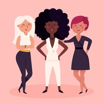 Flat-hand drawn confident female entrepreneurs illustration