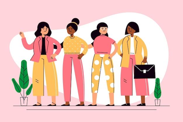 フラット手描きの自信を持って女性起業家