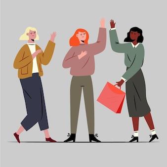 Imprenditori femminili fiduciosi disegnati a mano piatta