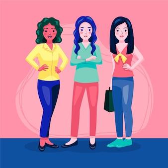 Flat-hand drawn confident female entrepreneurs