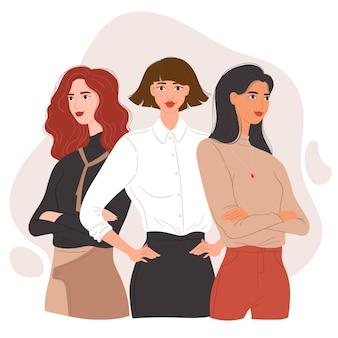평면 손으로 그린 자신감 여성 기업가