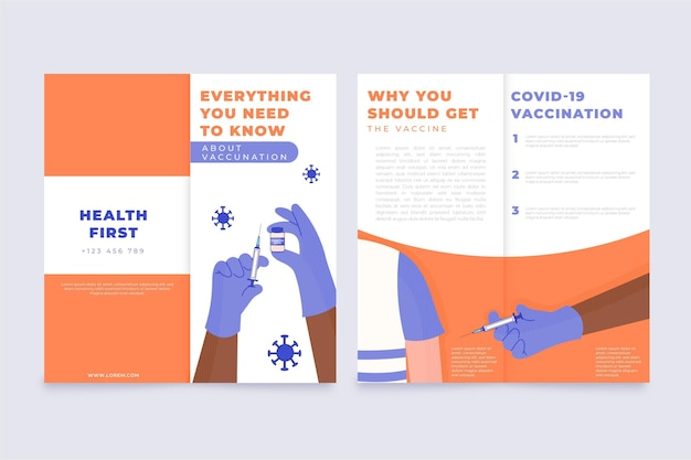 Modello di brochure informativo sulla vaccinazione contro il coronavirus disegnato a mano piatta