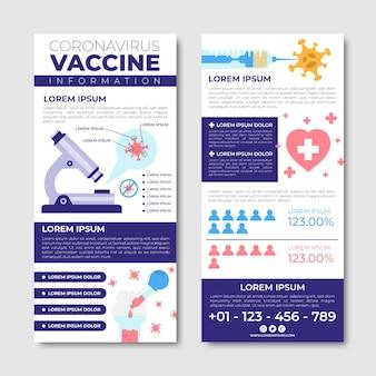 平らな手描きのコロナウイルスワクチン接種の有益なパンフレットテンプレート