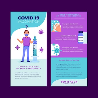 Brochure informativa sulla vaccinazione contro il coronavirus disegnata a mano piatta