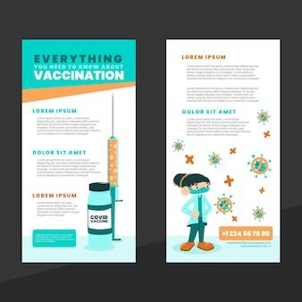 平らな手描きのコロナウイルスワクチン接種の有益なパンフレット