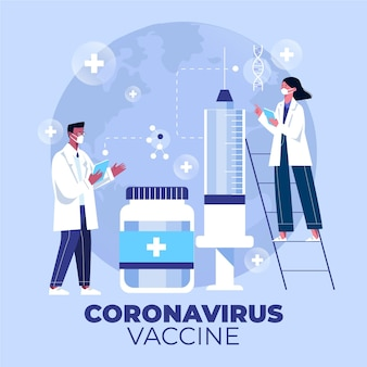 Flat-hand drawn coronavirus vaccine background with syringe and doctors